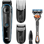 Braun - 3040 Wet/Dry Beard Trimmer with 2 Guide Combs - Black/blue