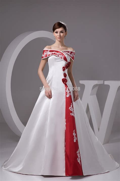 cheap red and white wedding dresses with Floor length