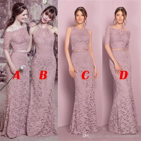 Best Selling Two Piece Long Full Lace Bridesmaid Dresses