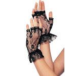 Leg Avenue Fingerless Lace Ruffle Gloves, Black