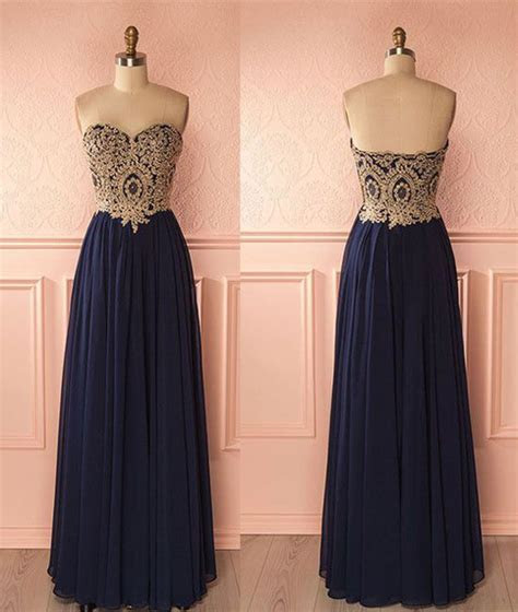 Gold Lace Appliqued Prom Dress,Navy Blue Prom Dress,Long