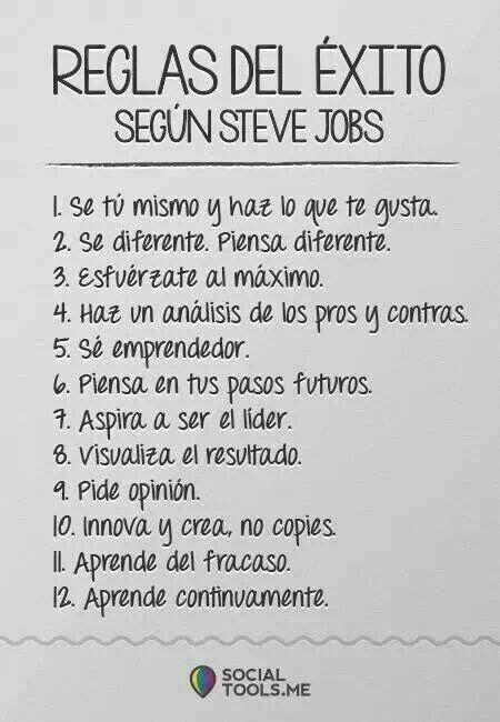 reglas del exito steve jobs misc pinterest frases