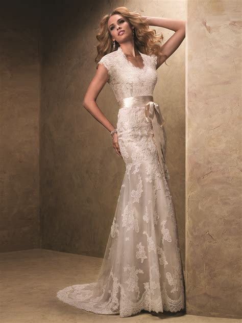 Cap Sleeved Slim Flare Bridal Gown By Maggie Sottero