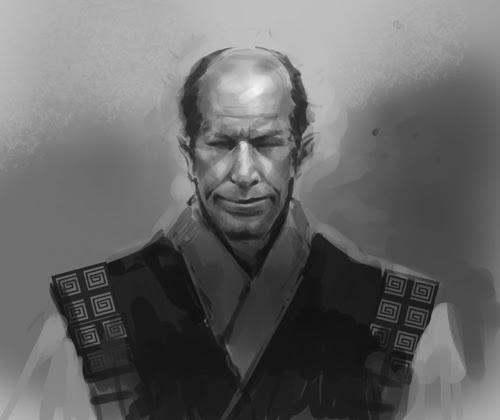 concept, drawing, sketch, how to, tutorial, face, samurai, man, old,  comics, manga