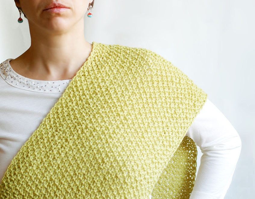 Lime green wool knitted scarf wrap - luxury light cozy warm - gifts for her