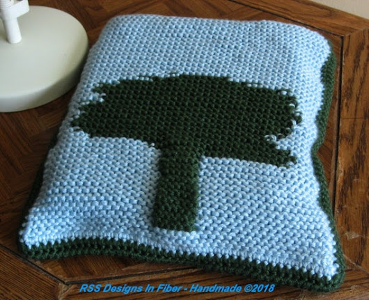 Knitted Tree Tapestry Laptop Sleeve or Laptop Case Green and