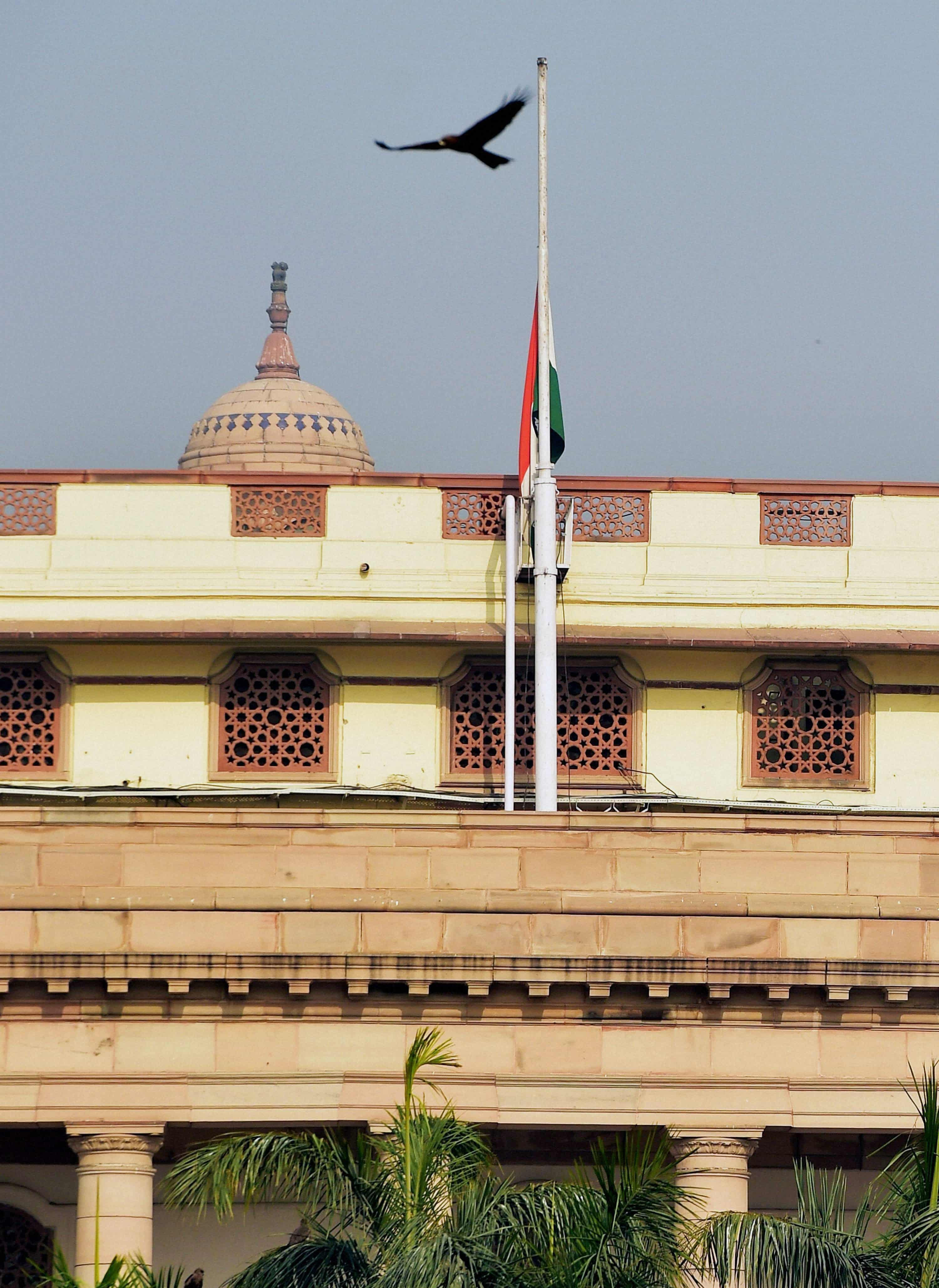 The Indian flag flies at half-mast.