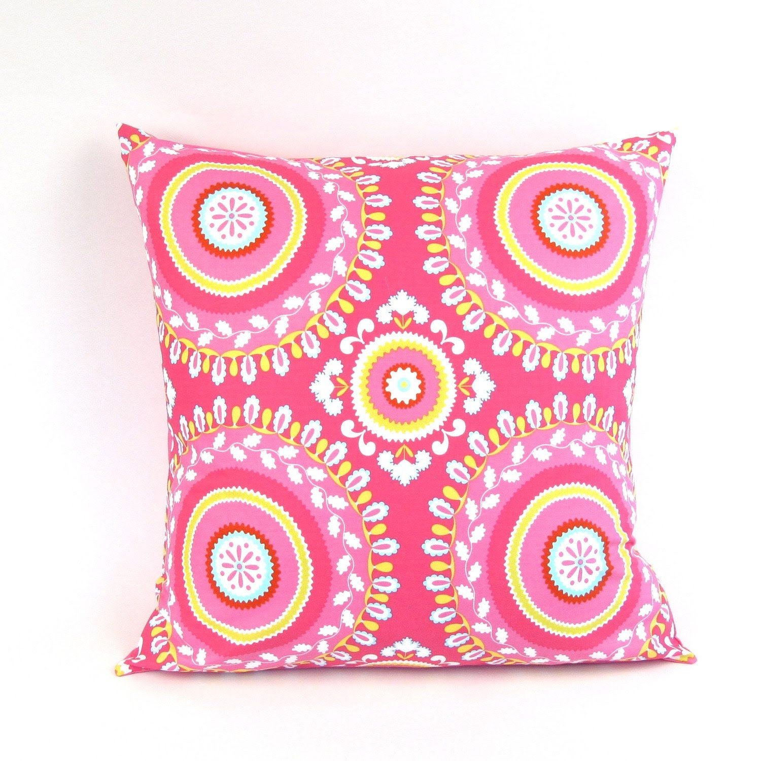 Bohemian Pillow Cover in Honeysuckle Pink 20 inch