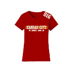 Women's Rock and Luxe Apparel Women's Playoff Football T-Shirts (Plus Sizes Available) L (10-12) Kansas City - Red Cotton