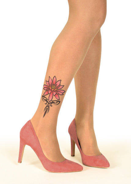 Pink Tribal Water Lily Tattoo Printed Tights Pantyhose Online