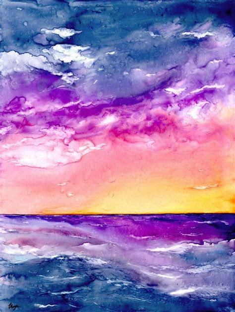 original sunset storm seascape watercolour painting