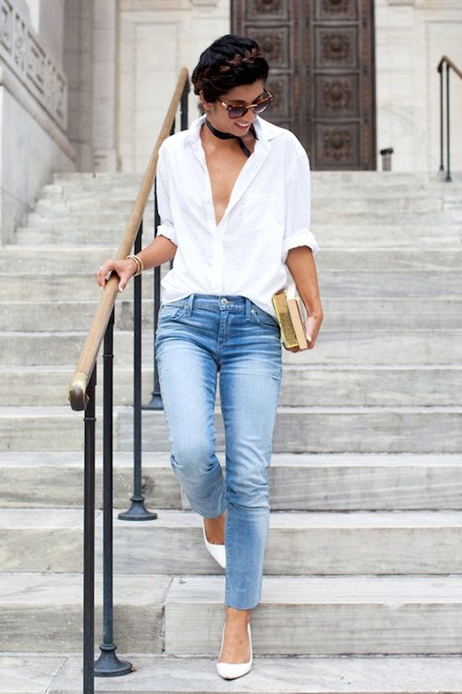 Le Fashion Blog Summer Style Milkmaid Braid Cat Eye Sunglasses White Button Down Blouse Black Choker Necklace Light Wash Denim White Heels Via This Time Tomorrow