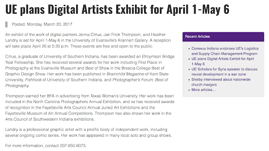Digital Artists Exhibition at University of Evansville Announcement