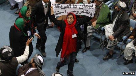 Protester at Loya Jirga gathering, Kabul, 21 Nov
