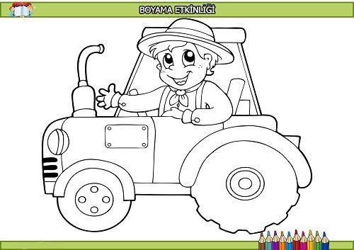 Traktördeki çocuk Boyama Etkinliği Meb Ders
