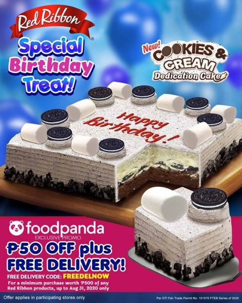 SPECIAL BIRTHDAY TREAT IN FOODPANDA! Get P50 OFF and Free Delivery for a minimum order worth P500 of any Red Ribbon products