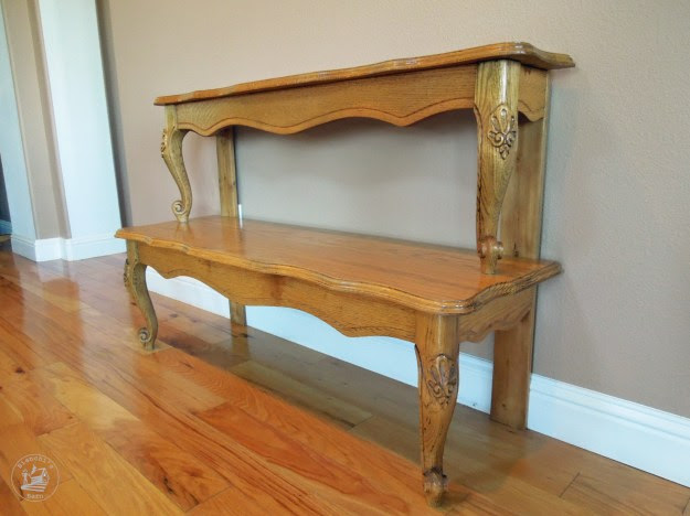 Entryway table made out of a repurposed coffee table