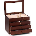 Bey Berk Rosewood Jewelry Box With Glass Viewing Top   Jewelry Boxes