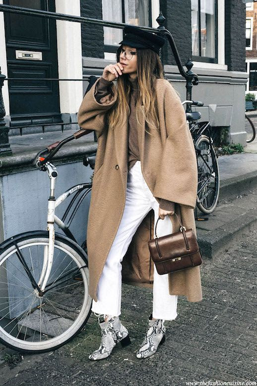 Le Fashion Blog Tan Oversized Coat White Jeans Neutral Turtleneck Snakeskin Boots Via The Fashion Cuisine