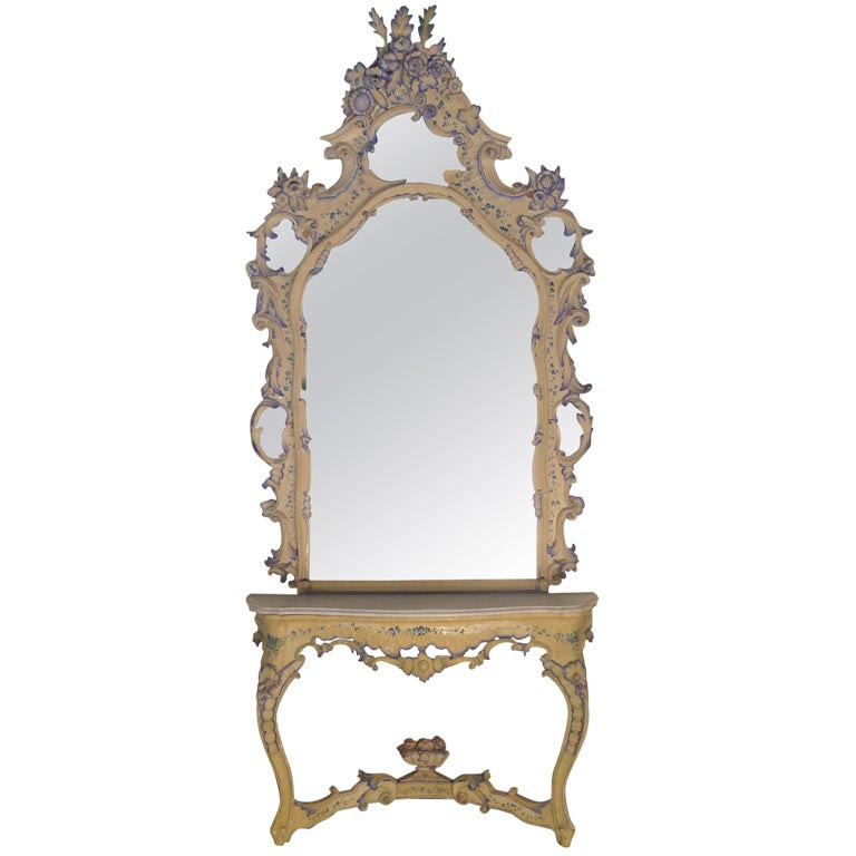 19th c. Venetian console table with mirror at 1stdibs