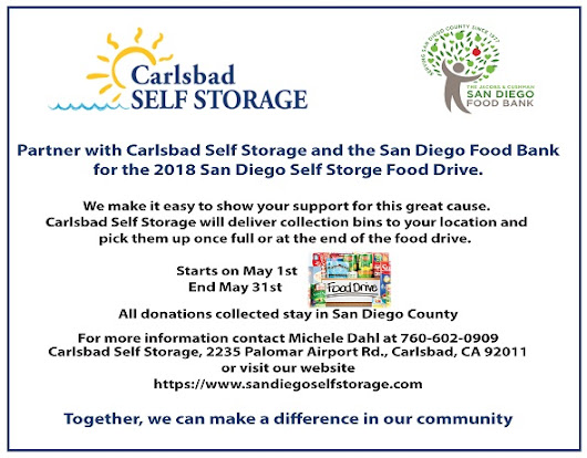 Food Drive for the San Diego Food Bank May 1st thru May 31st