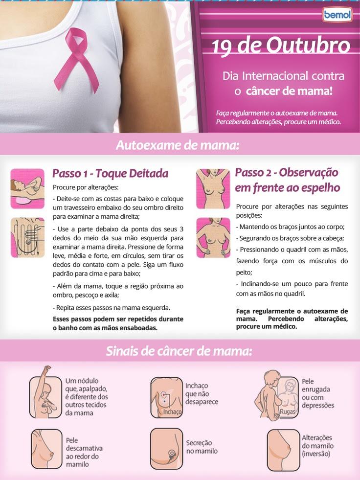 Outubro Rosa! Dia 19 de outubro - Dia internacional de contra o câncer de mama. Aprenda a fazer seu auto exame de mama.