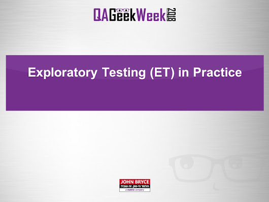 Exploratory Test in Practice | Tester's choice - Modern software testing
