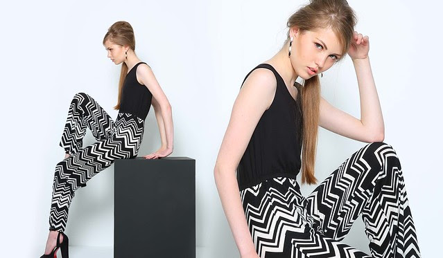 Optic Print Jumpsuit, Black and White, Php 995