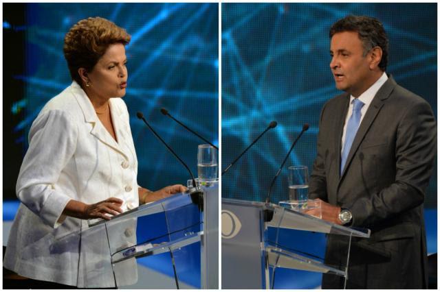 Aécio e Dilma trocam acusações no primeiro debate do segundo turno Nelson Almeida/AFP