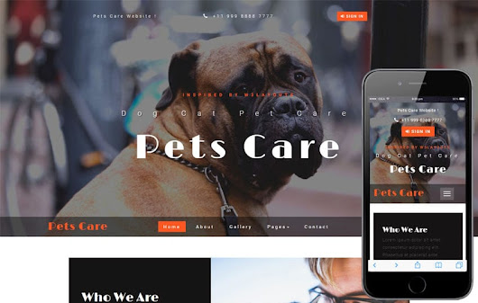 Pets Care an Animals Category Bootstrap Responsive Web Template