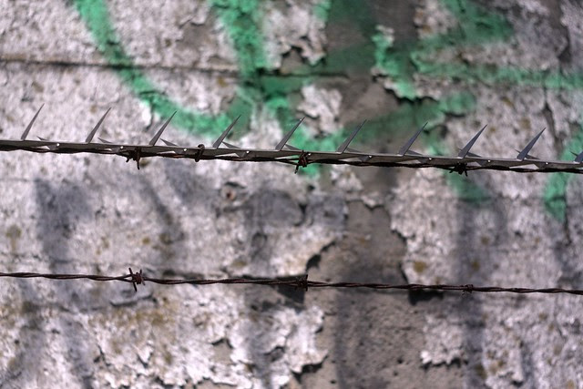 concrete & concertina wire