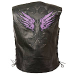 Milwaukee Womens Reflective Purple Angel Wing Leather Motorcycle Vest 3x
