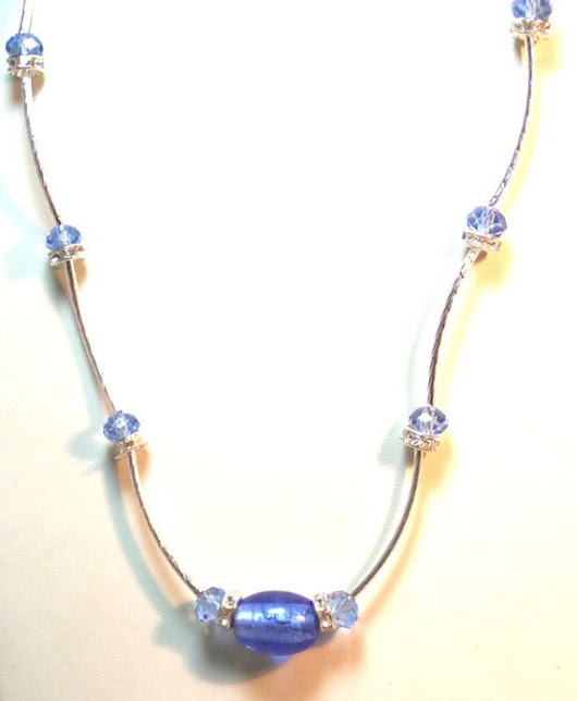 Crystal Necklace Silver Tube Layering Necklace  Blue