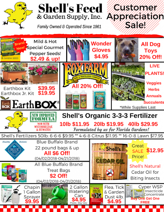 Customer Appreciation Sale In-Store Flyer - Shell's Feed & Garden Supply