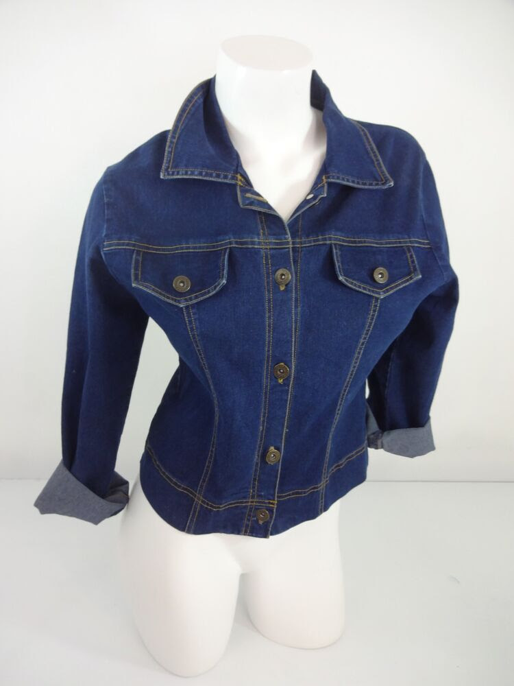 committed dark wash blue jean stretch denim jacket size