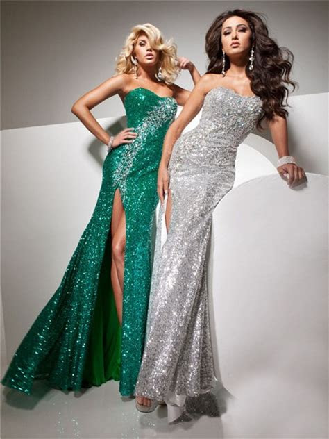 sheath strapless long silver sequins glitter evening prom