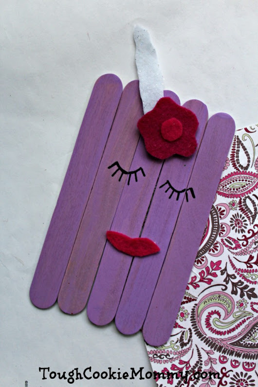 DIY Purple Craft Stick Unicorn - Tough Cookie Mommy