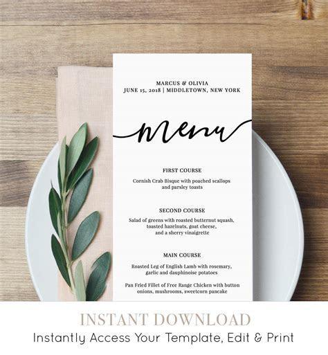 Menu Card Template Printable Wedding Menu Modern Calligraphy
