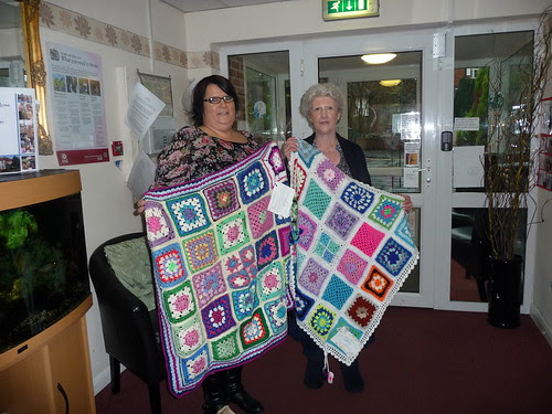 Julie The Manager accepting our Blankets.21of them!
