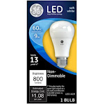 GE Non-dimmable LED Light Bulb, Soft White, 9W