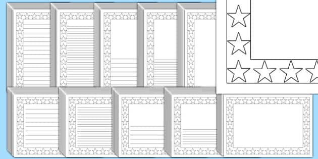 Black and White Star Page Borders Pack - page borders