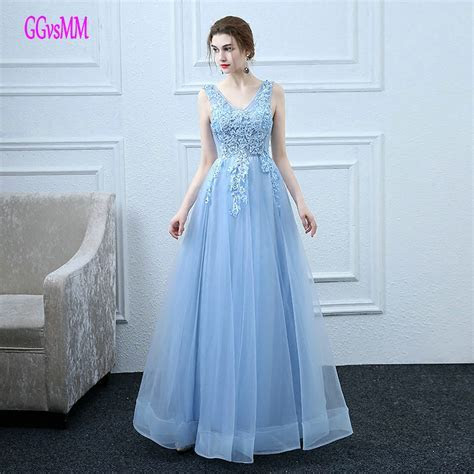 Fast Shipping Sky Blue Prom Dresses Long 2019 New Cheap