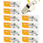 10 Packs Sports Whistle with Lanyard, Safety Dog Whistles for Coaches Referee Outdoor Activities Camping Hiking, Silver, 1.7 x 0.7 Inches