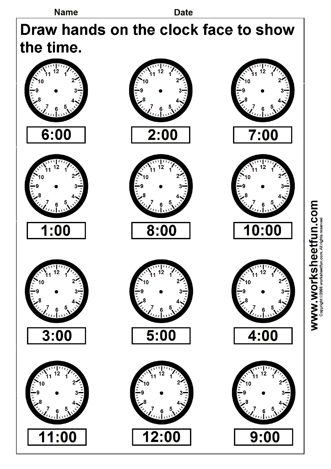 Time – Draw Hands On The Clock Face – 4 Worksheets FREE