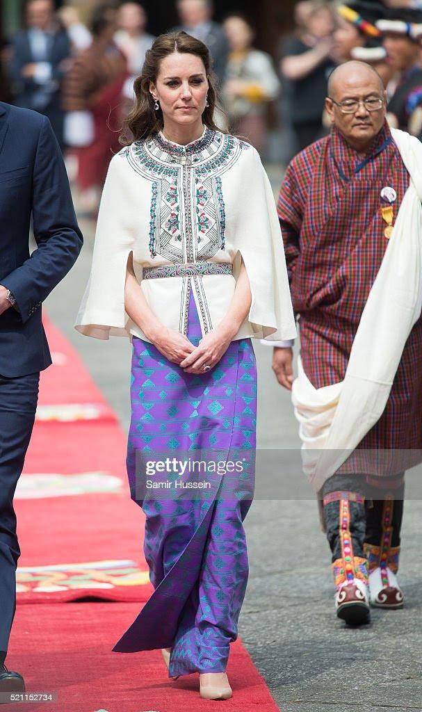 Katarzyna, księżna Cambridge uczęszcza uroczyste powitanie i publiczność na TashichhoDong w dniu 14 kwietnia 2016 roku w Thimphu, Bhutan.