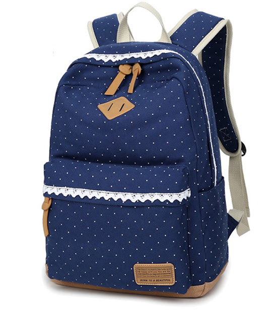 Blue Dots Pig Snouts Cotton Canvas College Backpack Bags for Girls with Lace