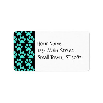 Cute Puppy Dog Paw Prints Teal Blue Black Custom Address Label
