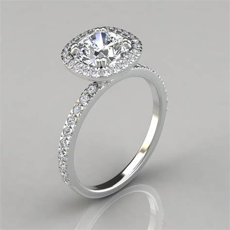 French Cut Pavé Cushion Cut Halo Engagement Ring