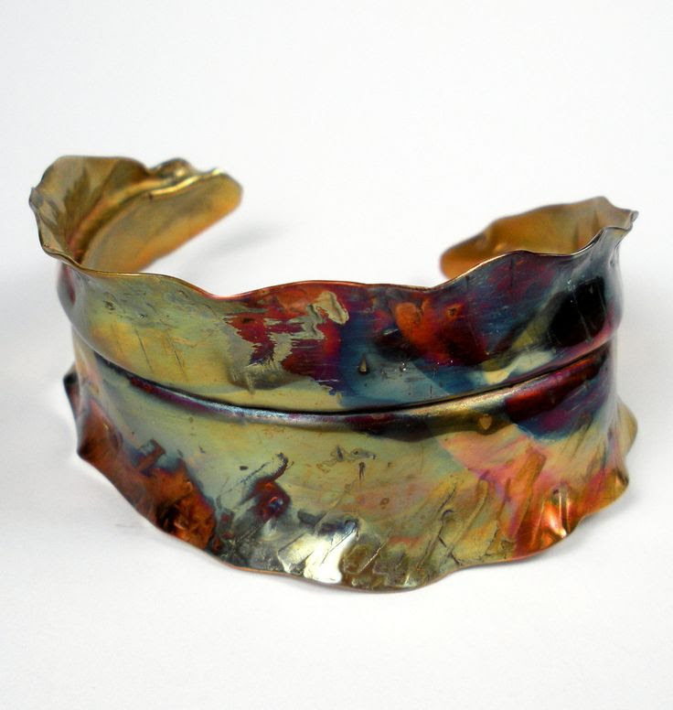 Cuff | Deb ~ FebraRose. 'In Transition'. Rustic Forged, Fold Formed and Hammered Copper Leaf With A Colorful Heat Patina