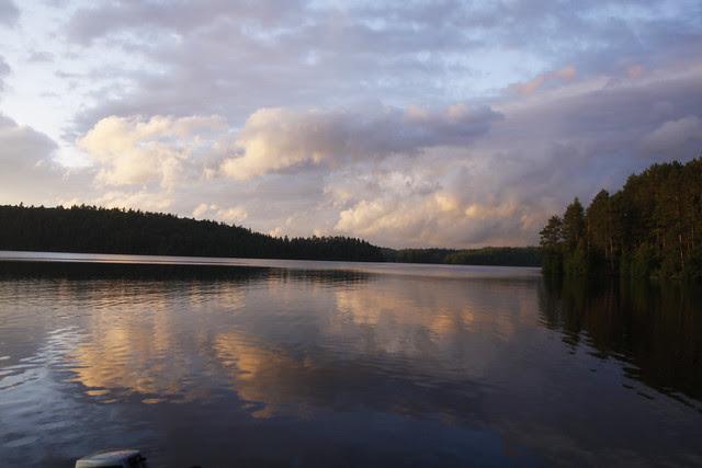 clouds lake sun